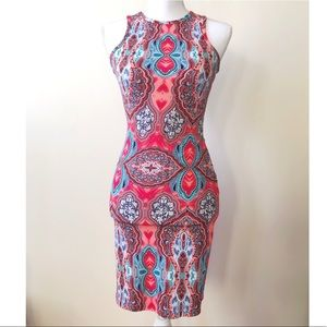 Red and blue patterned pencil dress